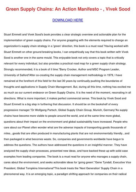 Green Supply Chains An Action Manifesto
