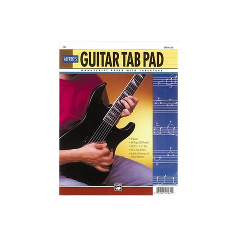 Guitar Tab Pad Loose Pages 3 Hole Punched For Ring Binders