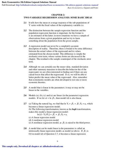 Gujarati Basic Econometrics 5th Solution Manual (ePUB/PDF)