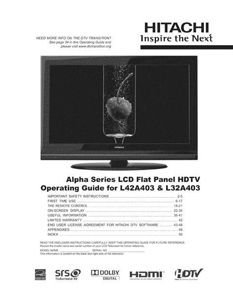 Hitachi Manuals For Tv (ePUB/PDF)