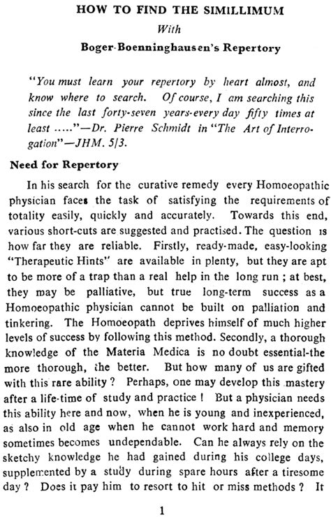 How To Find Simillimum With Boger Boenninghausens Repertory