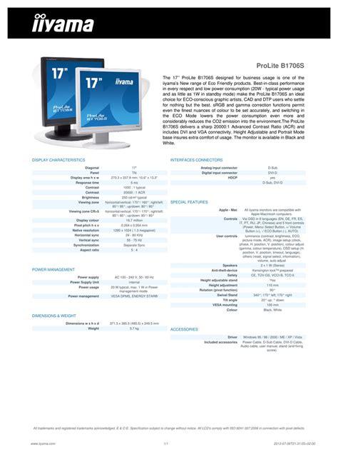 Iiyama Prolite B1706s Manual (ePUB/PDF) Free