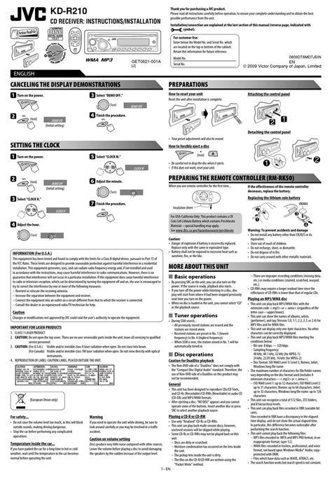 Jvc Kd R210 Instruction Manual (ePUB/PDF) Free