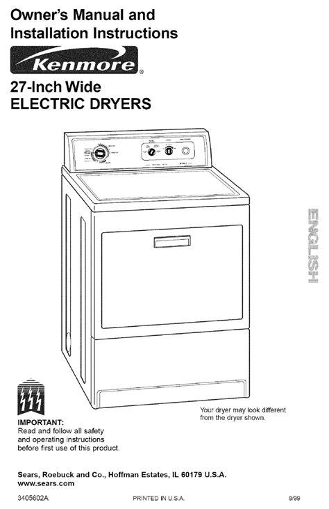 Kenmore Dryer Owners Manual (ePUB/PDF) Free