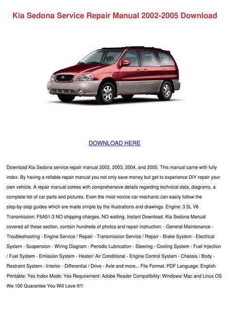 Kia Sedona Service Repair Manual 2002 2003 2004 2005 (ePUB/PDF)