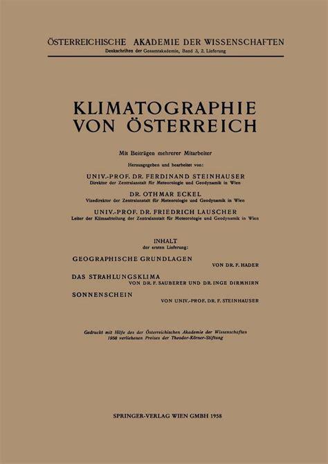 Klimatographie Von Sterreich Steinhauser F Eckel O Lauscher F ...