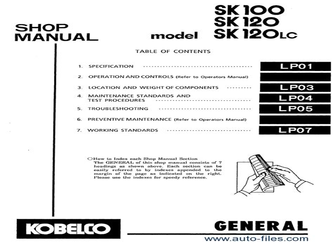 kobelco sk100 sk120lc hydraulic crawler excavator workshop service repair  manual yw 2801 lp 5201 yp 1601