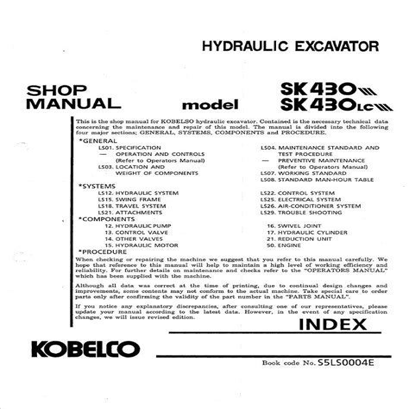 Kobelco Sk430 3 Sk430lc 3 Hydraulic Excavators Mitsubishi Diesel