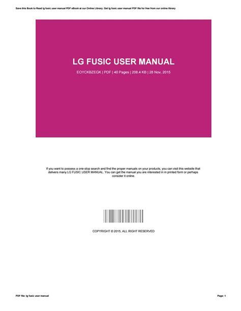 Lg Fusic User Manual (ePUB/PDF) Free