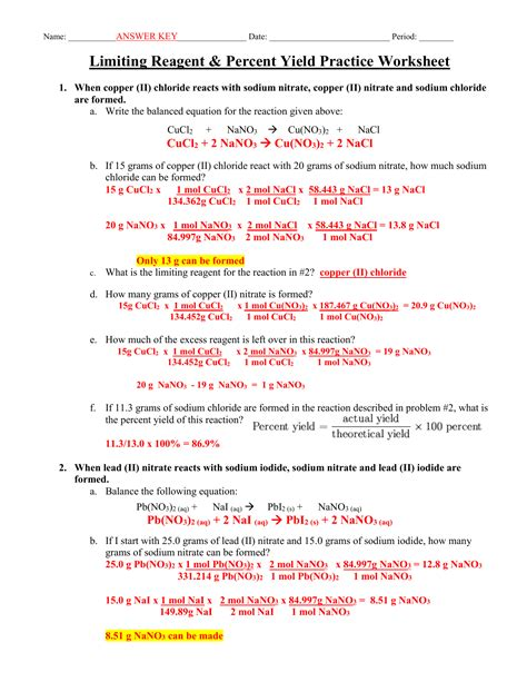 Limiting Reactants Answer Key (ePUB/PDF) Free