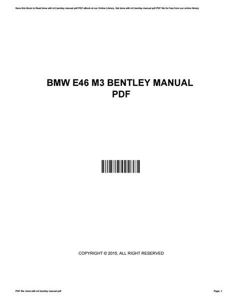 M3 Bentley Manual (ePUB/PDF) Free
