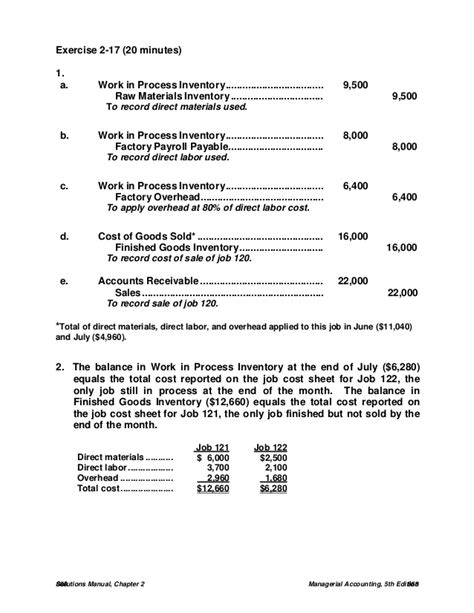 Managerial Accounting 5th Edition Solutions Manual Jamesjiambalvvo