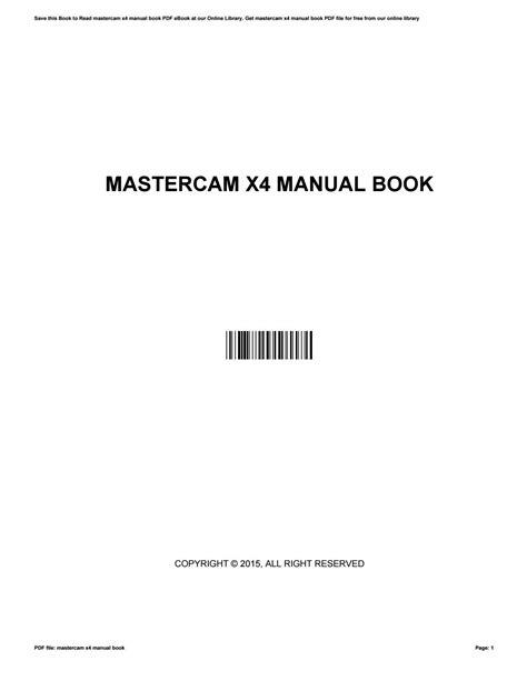 Manual De Engraving Mastercam X4 ePUB/PDF
