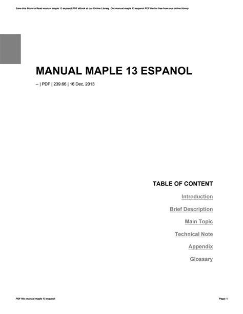 Manual Maple 13 (ePUB/PDF) Free