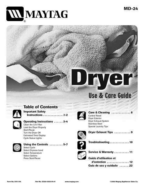 Maytag Dryer Manuals (ePUB/PDF) Free