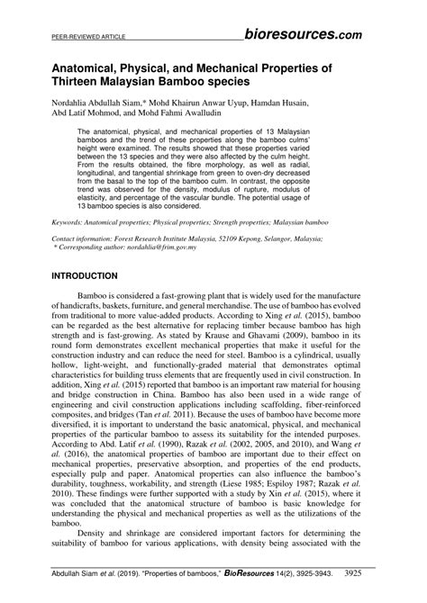 Mechanical Properties Of Bamboo Forestry Sciences