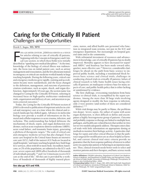 Medical Diagnosis And Treatment Of Critically Ill Patients And Nursing