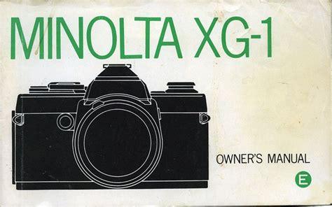 Minolta Xg 1 Owners Manual (ePUB/PDF)