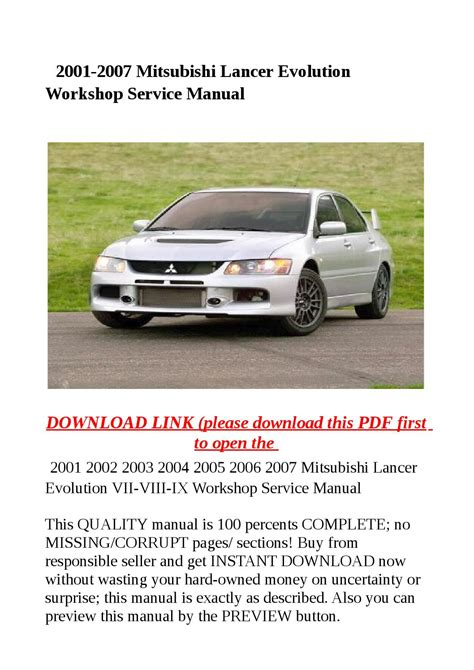 Mitsubishi Lancer 2007 Manual Services (Free ePUB/PDF)