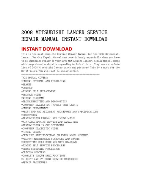 Mitsubishi Lancer Service Repair Manual 2000 2001 2002 2003