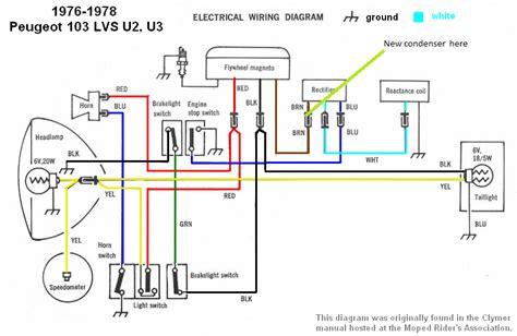 peugeot 103 wiring diagram moped wiring diagram simplified  moped wiring diagram simplified