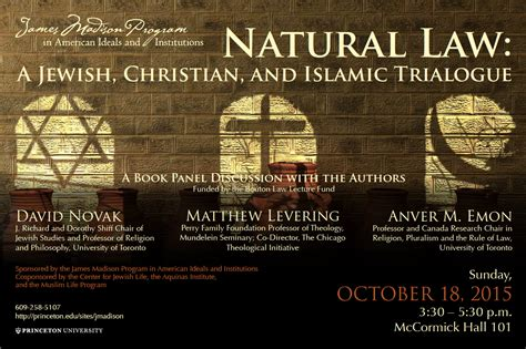 Natural Law A Jewish Christian And Muslim Trialogue