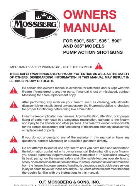 Owners Manual For Mossberg 500 (Free ePUB/PDF) on