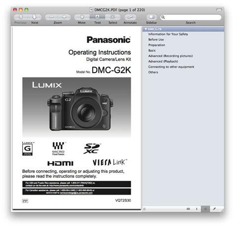 Panasonic G2 Instruction Manual (PDF files/ePubs)