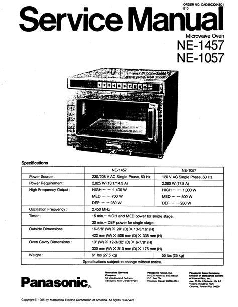 Panasonic Microwave User Manuals (ePUB/PDF)