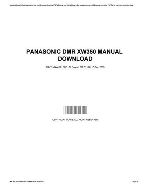 Panasonic Xw350 Manual (ePUB/PDF)