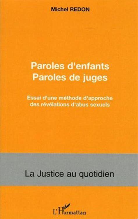 Paroles Denfants Paroles De Juges Essai Dune Methode Dapproche Des