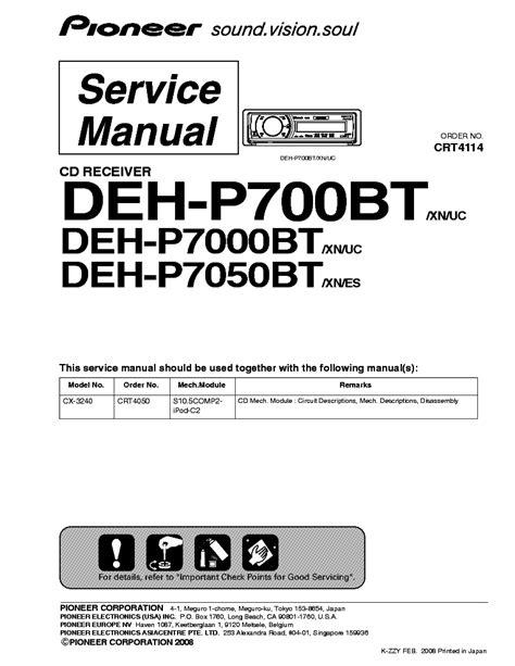 Pioneer Deh 7000bt Manual (ePUB/PDF) Free