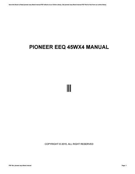 Pioneer Eeq Manual (ePUB/PDF) Free