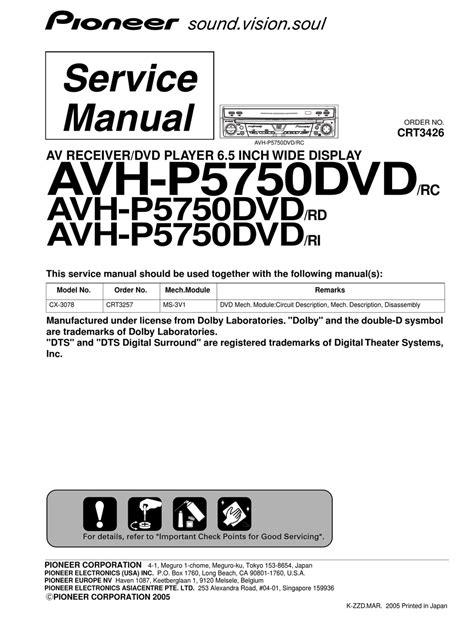 Pioneer Avh P5750dvd Service Manual Repair Guide - link.pdf.filter.dj