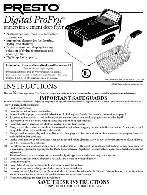 Superb Presto Profry Manual Epub Pdf Wiring Digital Resources Dylitashwinbiharinl