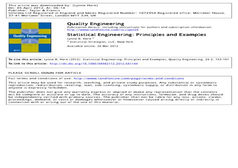 Quality Engineering Statistics (ePUB/PDF)