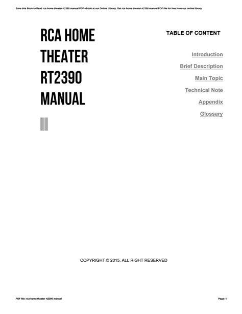 Rca Rt2390 Manual ePUB/PDF