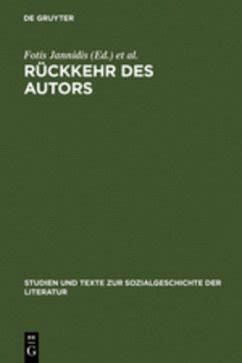 Rckkehr Des Autors Jannidis Fotis Winko Simone Lauer Gerhard ...