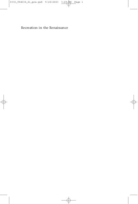 Recreation In The Renaissance Arcangeli Aless Andro Dr (ePUB
