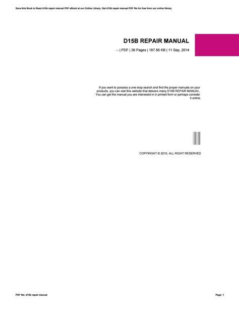 Repair Manual D15b (ePUB/PDF) Free