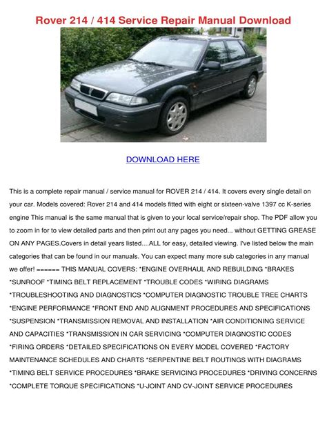 Rover 214 414 Service Manual Repair Manual (ePUB/PDF)