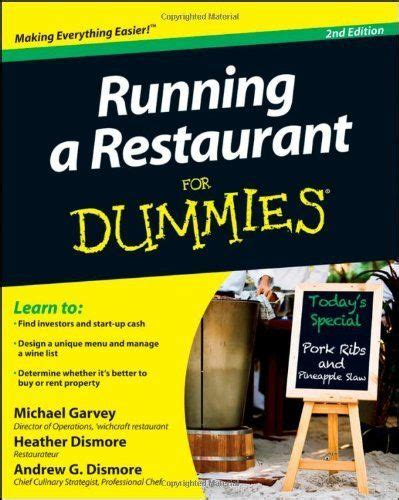 Running A Restaurant For Dummies For Dummies Business Amp Personal Finance