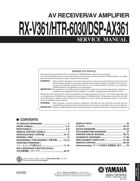 Rx V361 Manual (ePUB/PDF) Free