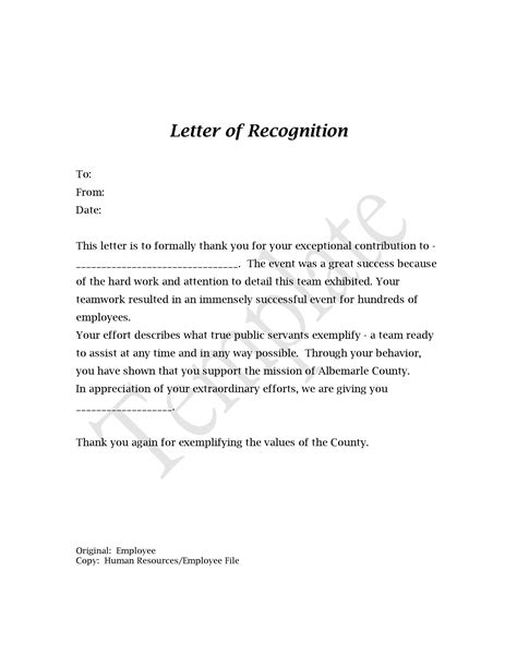 Sample Employee Recognition Letter To Manager