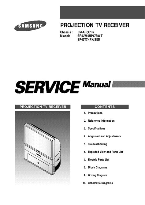 samsung sp42w4hpx bwt sp43t7hpx sed projector service manual