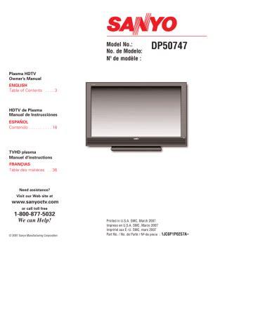 Sanyo Dp50747 Manual (ePUB/PDF)