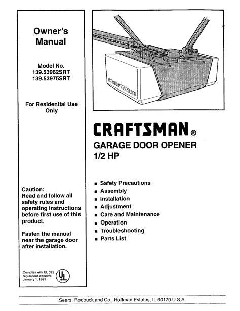 Sears Garage Door Installation Manual (ePUB/PDF)