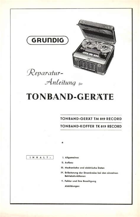 Service Manual Grundig Tk 819 Tape Recorder (ePUB/PDF)