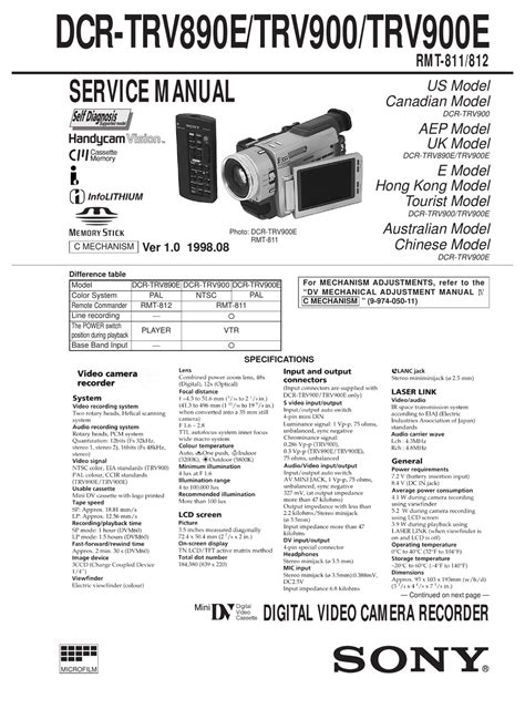 Service Manual Sony Dcr Trv890e Dcr Trv900 Digital Video Camera ...