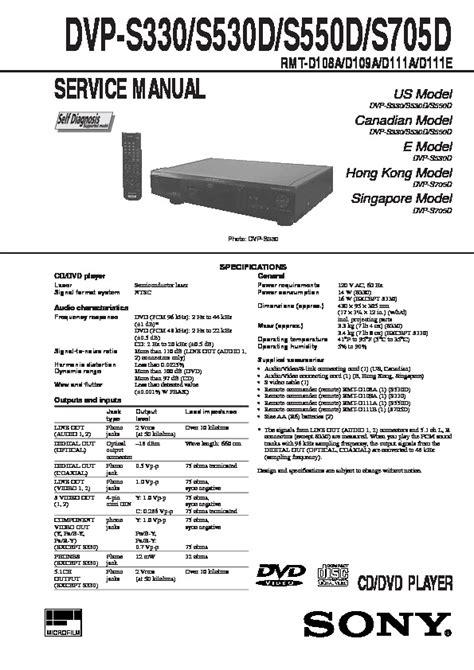 Service Manual Sony Dvp S550d Cd Dvd Player (ePUB/PDF)